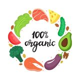 100 organic - hand drawn lettering. Round frame of vegetables, nuts and healthy foods. Keto nutrition. Ketogenic diet stock illustration