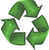 Organic, Hand Drawn Recycle Symbol. Vector, Clip Art illustration of recycle symbol drawn in an organic style. Hand drawn artwork with NO gradients Royalty Free Stock Photography