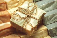Organic handmade soap. Royalty Free Stock Images