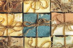 Organic handmade soap. A lot of slices royalty free stock image