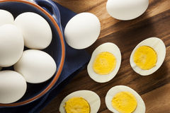 Organic Hard Boiled Eggs Stock Image