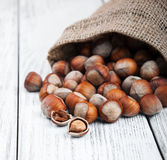 Organic hazelnuts in bag Royalty Free Stock Images