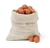 Organic hazelnuts in sack pouch Stock Photography