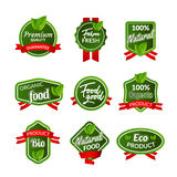 Organic health food badge seal design. Natural organic food sticker set. Farm product market signs in vector Royalty Free Stock Image