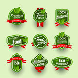 Organic health food badge seal design. Natural organic food sticker set. Farm product market signs in vector Stock Image