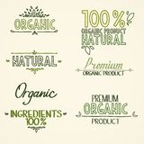 Organic health food headings natural product Stock Images