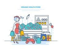 Organic health store. Shopping products, farming, gardening, buying in supermarket. Organic health store. Shopping of products, from farming, gardening, buying royalty free illustration