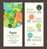 Organic healthy food with fruits and vegetables menu flyer leaflet Royalty Free Stock Images