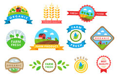 Organic healthy food stickers vector Royalty Free Stock Images
