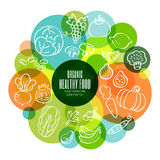 Organic healthy fruits and vegetables conceptual illustration stock illustration