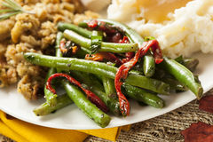 Organic Healthy Green Beans. With Red Peppers royalty free stock photos