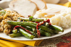 Organic Healthy Green Beans. With Red Peppers royalty free stock image
