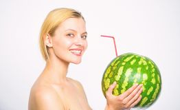 Organic healthy nutrition. Fresh bar concept. Woman enjoy natural juice. Watermelon cocktail beverage. Girl attractive. Nude drink fresh juice whole watermelon stock photo