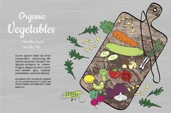 Organic healthy vegetables and kitchenware on a wooden surface. royalty free illustration