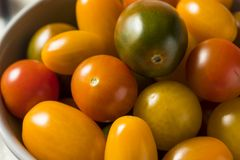 Organic Heirloom Cherry Tomatoes. In a Bowl stock photos