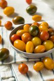 Organic Heirloom Cherry Tomatoes. In a Bowl royalty free stock photo