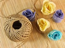 Organic hemp rope with paper soap on bamboo table Stock Photo
