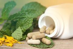 Organic Herb capsule Stock Photography