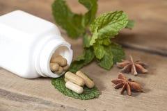 Organic Herb capsule Stock Images