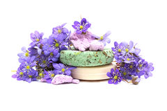 Organic herbal soap, shampoo and dry flower Royalty Free Stock Images