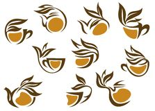 Organic herbal tea icons Royalty Free Stock Photo