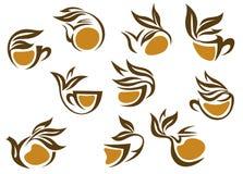 Organic herbal tea icons Royalty Free Stock Photo