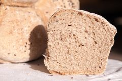 Organic home made bread with flax seeds Stock Photography