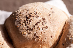 Organic home made bread with flax seeds Stock Images