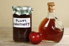 Organic home made plum chutney Royalty Free Stock Photography