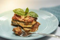Organic home made vegan gluten free zucchini lasagne royalty free stock image