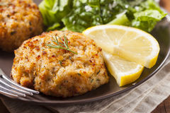 Organic Homemade Crab Cakes Stock Image