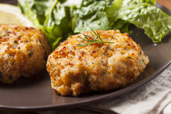Organic Homemade Crab Cakes Stock Photo
