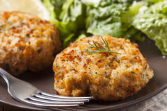 Organic Homemade Crab Cakes Royalty Free Stock Photo