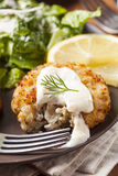 Organic Homemade Crab Cakes Royalty Free Stock Images