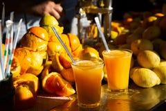 Organic homemade fresh orange and lemon juice royalty free stock images