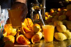 Organic homemade fresh orange and lemon juice stock photo