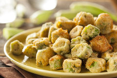 Organic Homemade Fried Green Okra Stock Photo