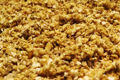 Organic homemade Granola Cereal with oats and almond. Texture oatmeal granola or muesli as background. Top view or flat-lay. Copy. Space for text royalty free stock images