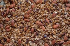 Organic homemade Granola Cereal with oats, almond. Very tasty Fresh baked Organic homemade Granola Cereal with oats, almond royalty free stock photos