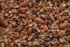 Organic homemade Granola Cereal with oats, almond. Very tasty Fresh baked Organic homemade Granola Cereal with oats, almond royalty free stock images