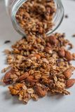 Organic homemade Granola Cereal with oats, almond. Very tasty Fresh baked Organic homemade Granola Cereal with oats, almond stock images