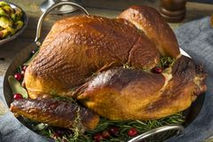 Organic Homemade Smoked Turkey Dinner for Thanksgiving. With Sides royalty free stock photo