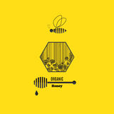 Organic honey label. With bee and text. Vector illustration Stock Photo