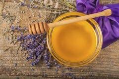 Organic honey and lavender flower royalty free stock photos