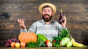Organic horticulture concept. Grow organic crops. Homegrown organic food. Man with beard wooden background. Farmer with. Organic vegetables. Gardening and royalty free stock photo