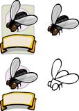 Organic Housefly Design. Variations of a housefly brand logo and label for all types of use Royalty Free Stock Photography