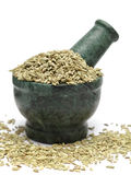 Organic Indian Fennel seed (Foeniculum vulgare) on marble pestle. And over white background stock photos