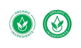 Organic ingredients green leaf water drop label. Organic ingredients green leaf and water drop label stamp. Vector icon vegan food or nature ingredients Royalty Free Illustration