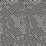Organic Irregular Rounded Lines Vector Seamless Black and White Pattern. Stock Images