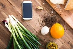 Organic Kitchen with Smartphone Stock Photo